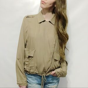 BB Dakota Jack NWT Tan Collared Cargo Wrap Jacket
